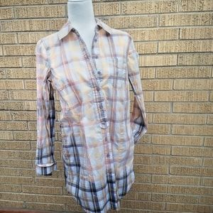 Free people ombre plaid button down t-shirt dress